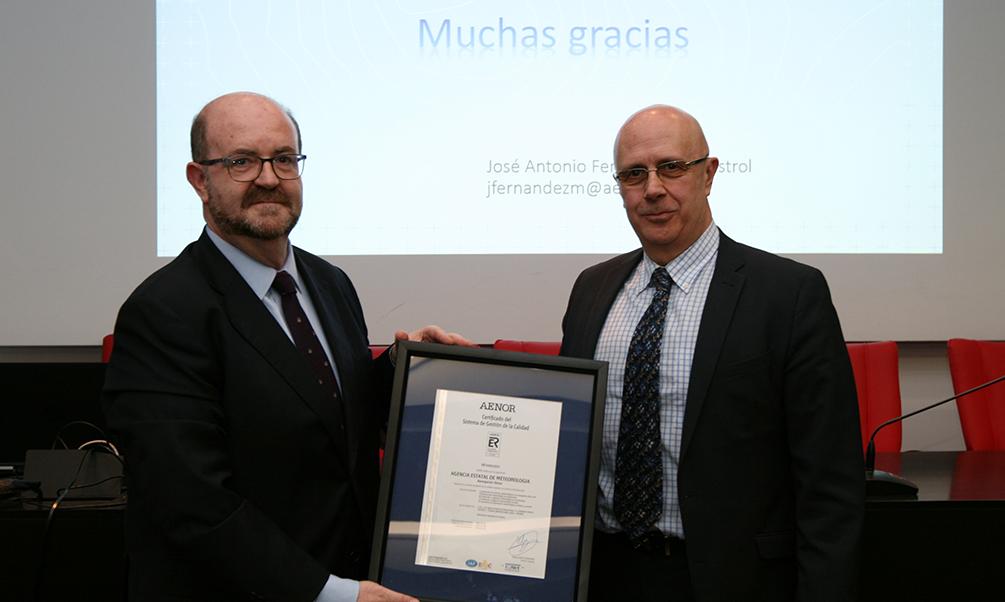 La Agencia Estatal de Meteorología recibe el certificado de Calidad ISO para sus servicios a la navegación área