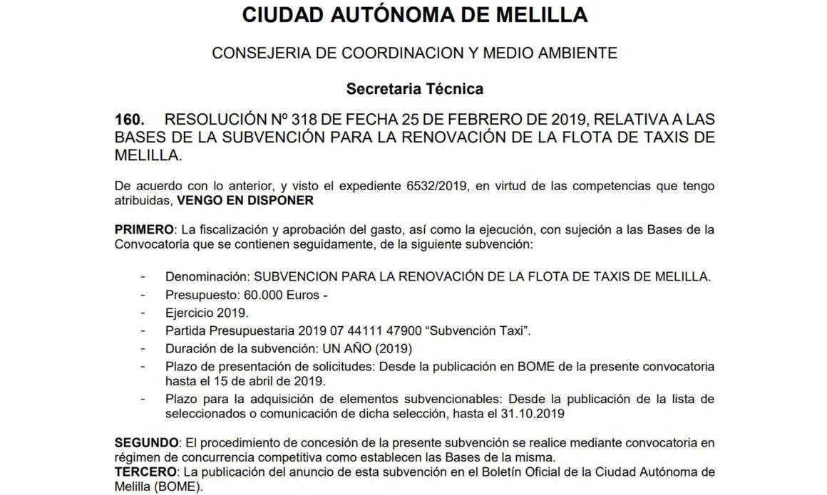 Medio Ambiente destina 60.000 euros para renovar la flota del taxi