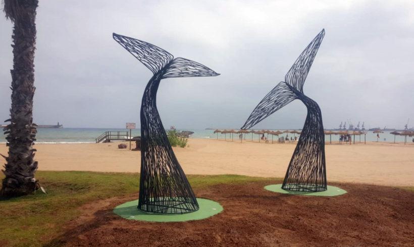 Materiales reutilizados para embellecer el Paseo Marítimo